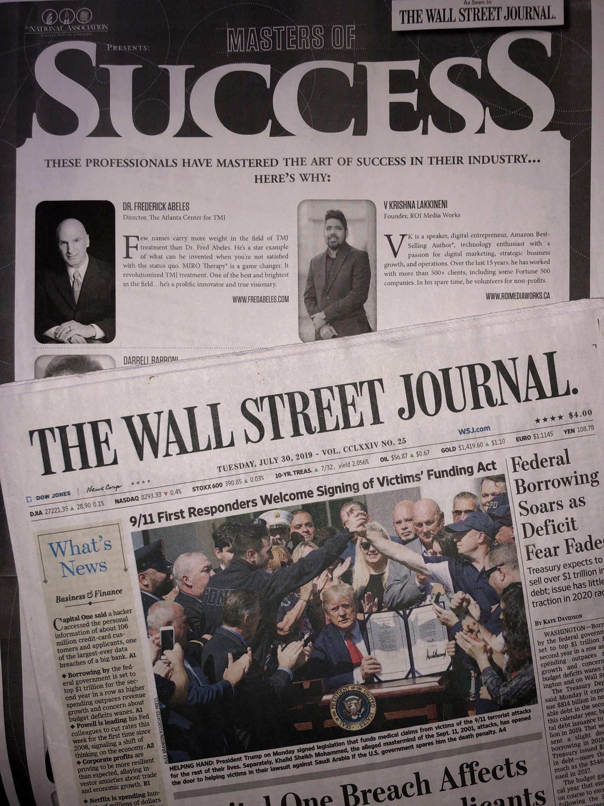 V Krishna Lakkineni Wall Street Journal